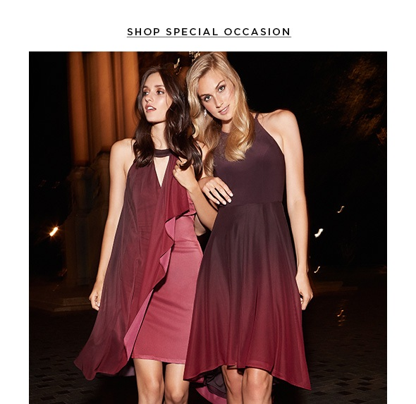 EVERYONE WILL ADORE THESE RICH RUBY TONES. SHOP OCCASION DRESSES>