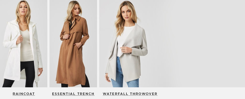 Fresh Layers. New coats to keep you dry in spring showers, and looking fly amongst the flowers. Waterfall Throwover > Check Trench > Raincoat >