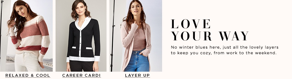 Layers to Love No winter blues here, just all the lovely layers to keep you cozy, from work to the weekend. A New Crew > Career Cardi > Layer Up >