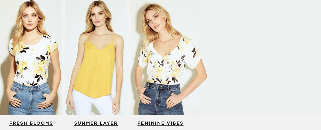 Top Contenders. Meet the tops your closet needs for spring. Fresh blooms > Summer Layer > Feminine vibes >